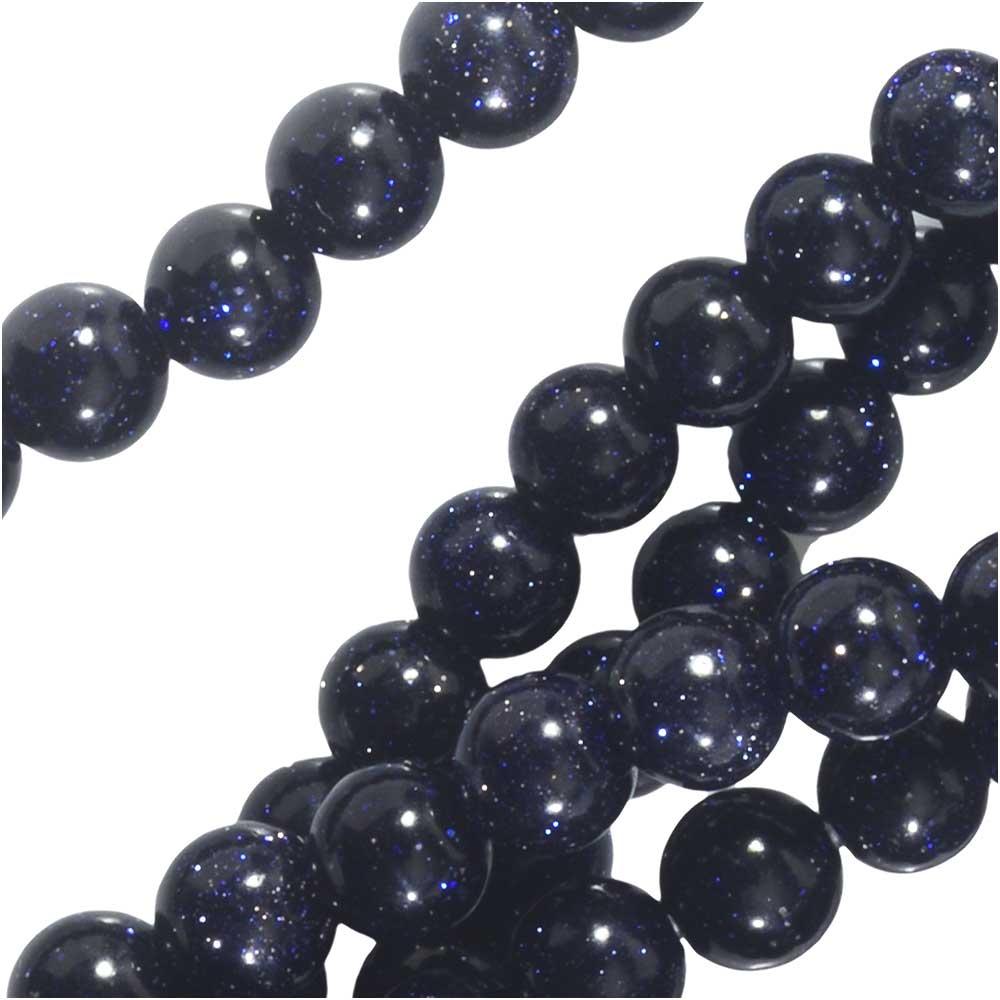 Dakota Stones Gemstone Beads, Blue Goldstone, Round 4mm, 8 Inch Strand