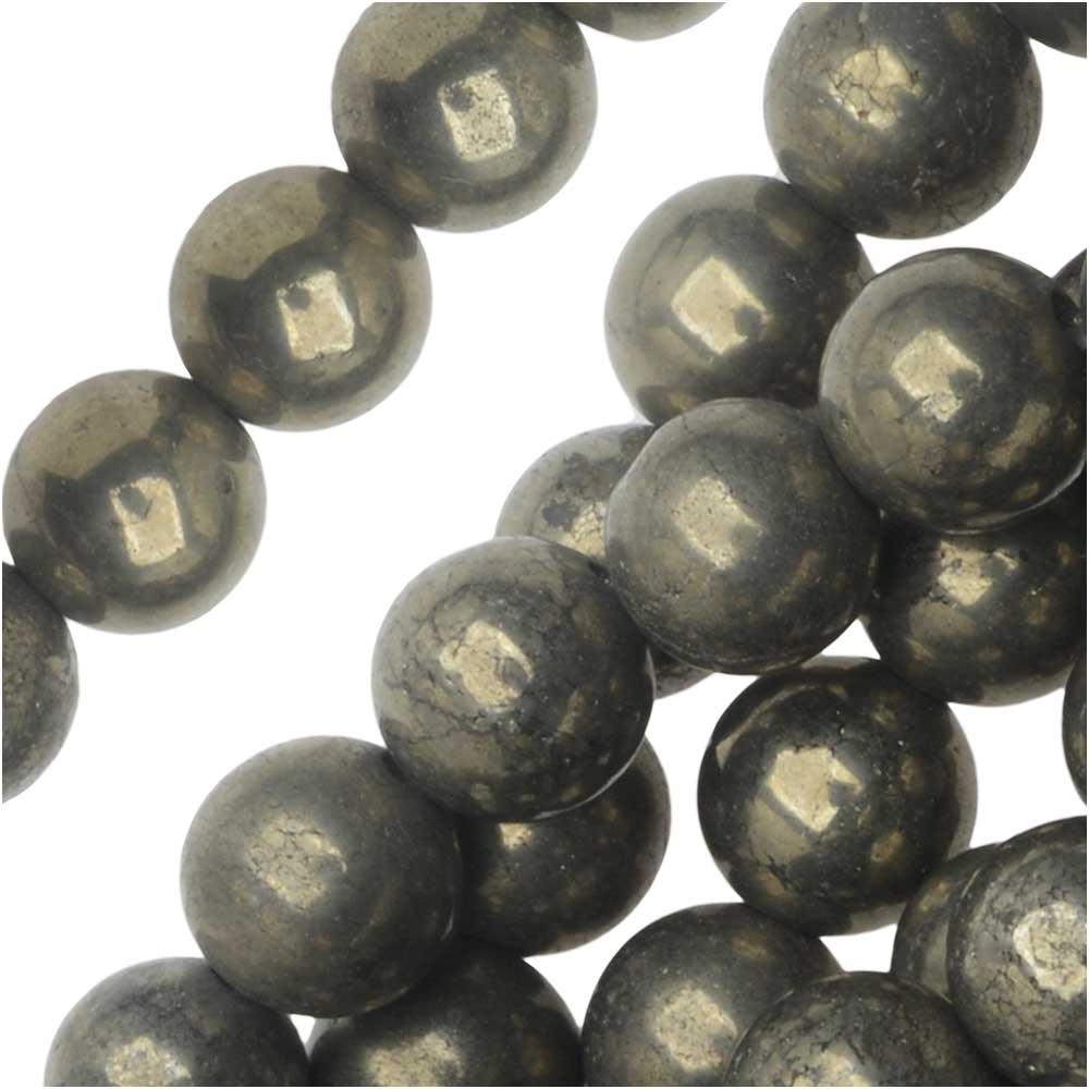 Dakota Stones Gemstone Beads, Pyrite Fool's Gold, Round 6mm, 8 Inch Strand