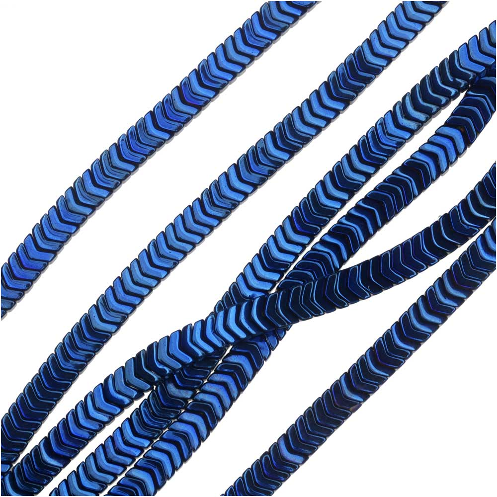 Hematite Gemstone Beads, Chevron 1.8x3mm, 6 Inch Strand, Metallic Blue