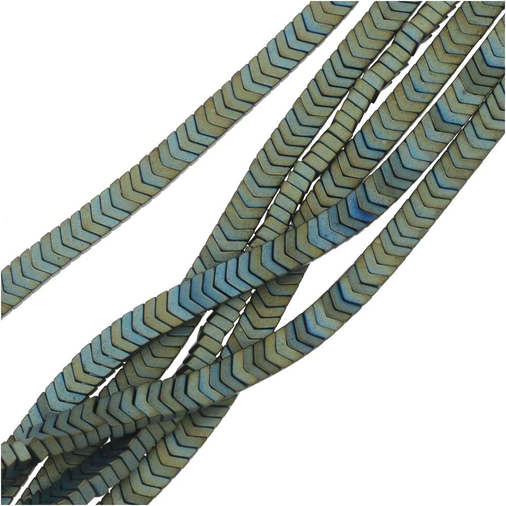 Hematite Gemstone Beads, Chevron 1.8x3mm, 6 Inch Strand, Matte Iridescent Green