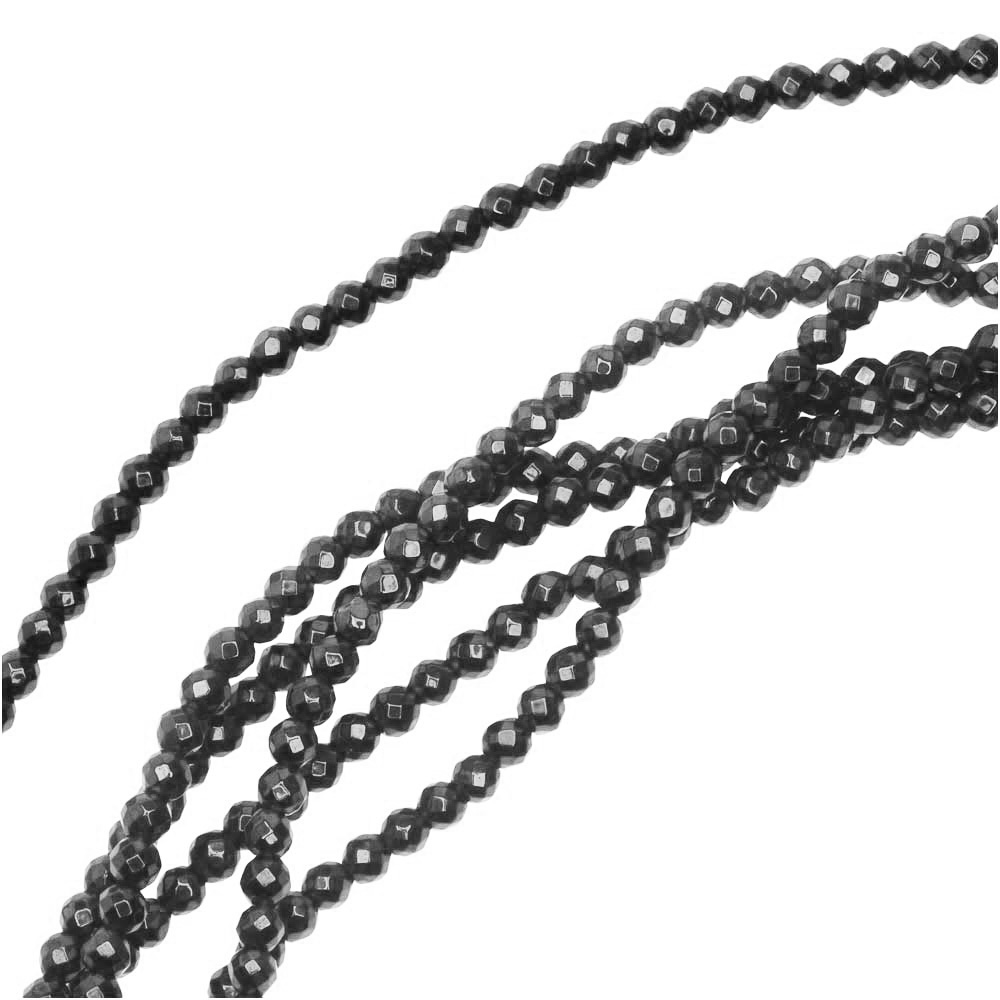 Hematite Gemstone Beads, Faceted Round 2mm, 6 Inch Strand, Gunmetal