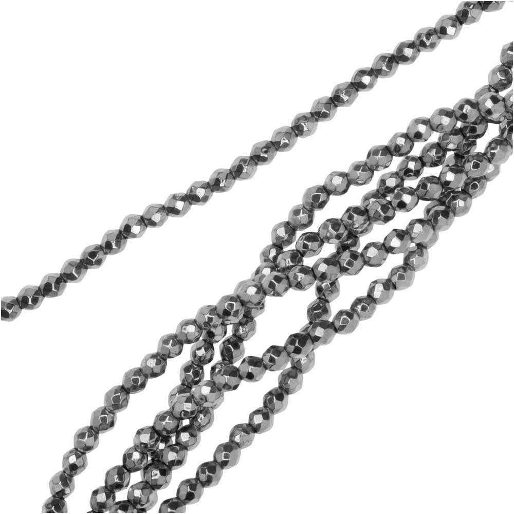 Hematite Gemstone Beads, Faceted Round 2mm, 6 Inch Strand, Bright Rhodium