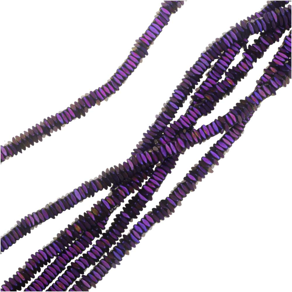 Hematite Gemstone Beads, Diamond Cut Square 1x2mm, 6 Inch Strand, Matte Iridescent Purple