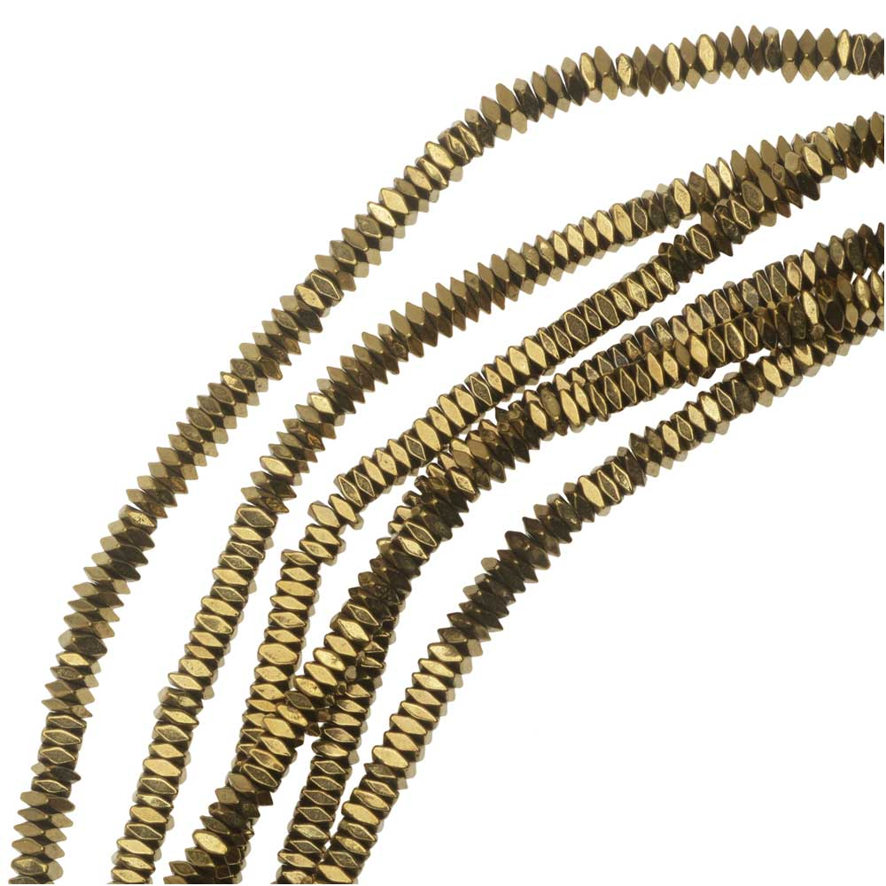 Hematite Gemstone Beads, Diamond Cut Square 1x2mm, 6 Inch Strand, Metallic Gold