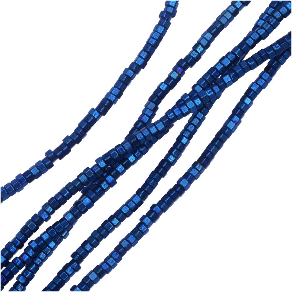 Hematite Gemstone Beads, Hexagon 1x2mm, 6 Inch Strand, Metallic Blue