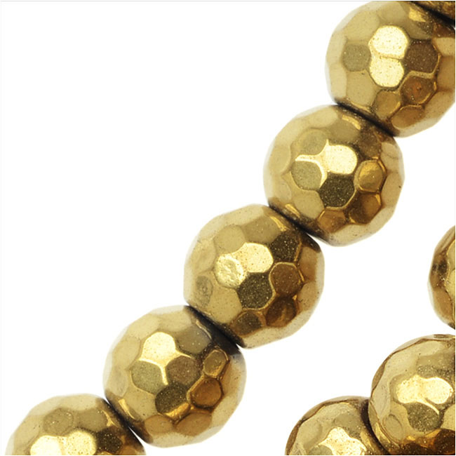 Hematite Gemstone Beads, 6mm Faceted Round, 16 Inch Strand, Metallic Gold