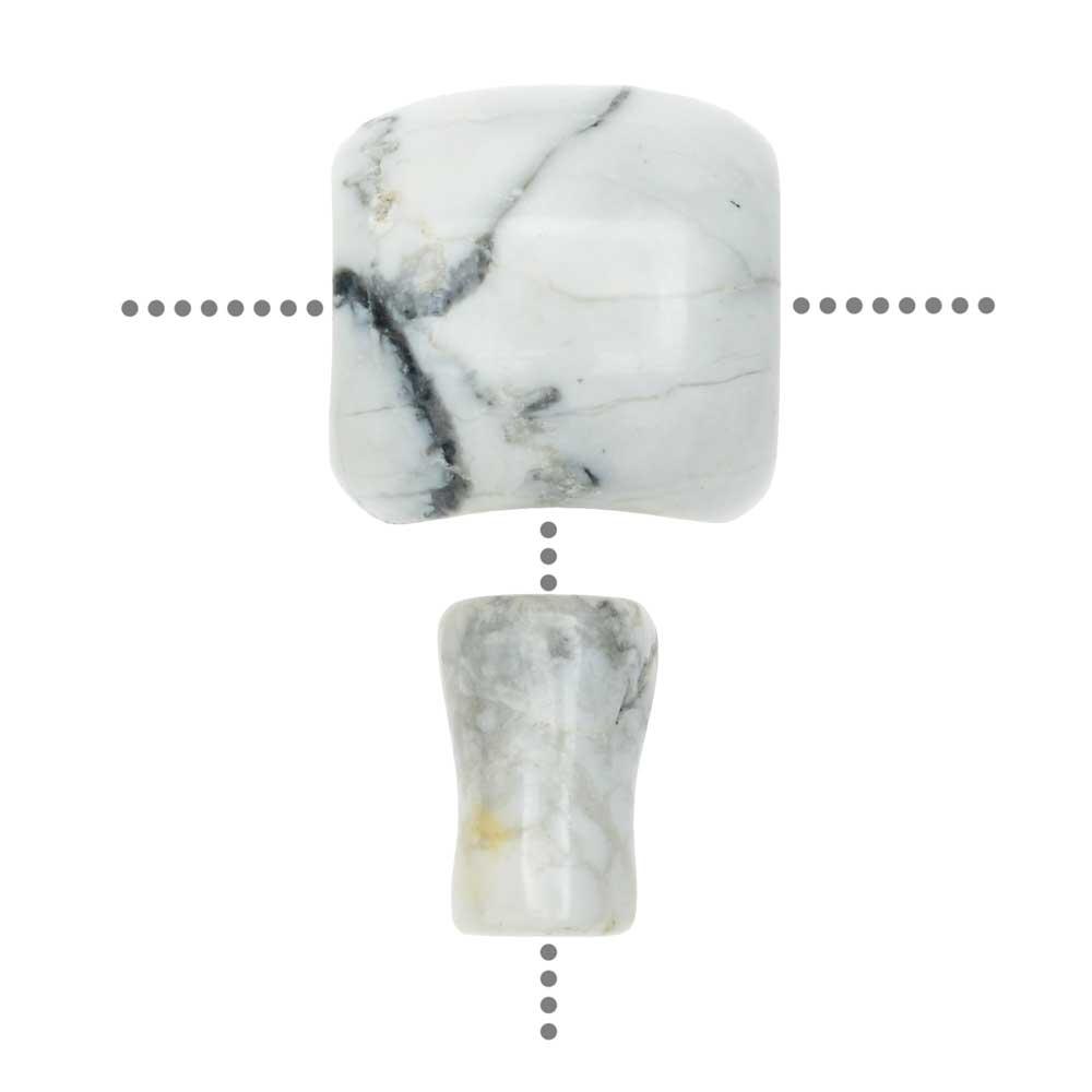 Howlite Gemstone Guru Beads, Barrel 18mm, 1 Set, White and Black