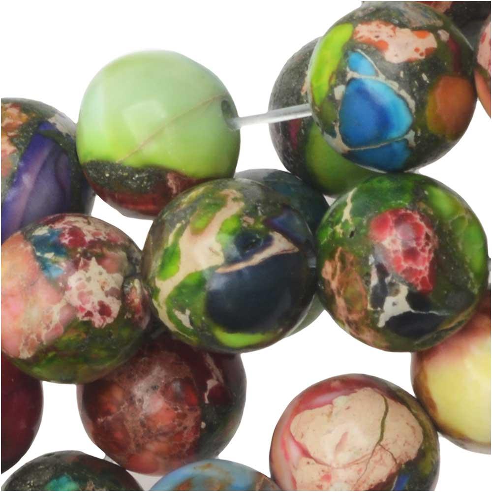 Dakota Stones Gemstone Beads, Mixed Impression Jasper, Round 8mm, 8 Inch Strand