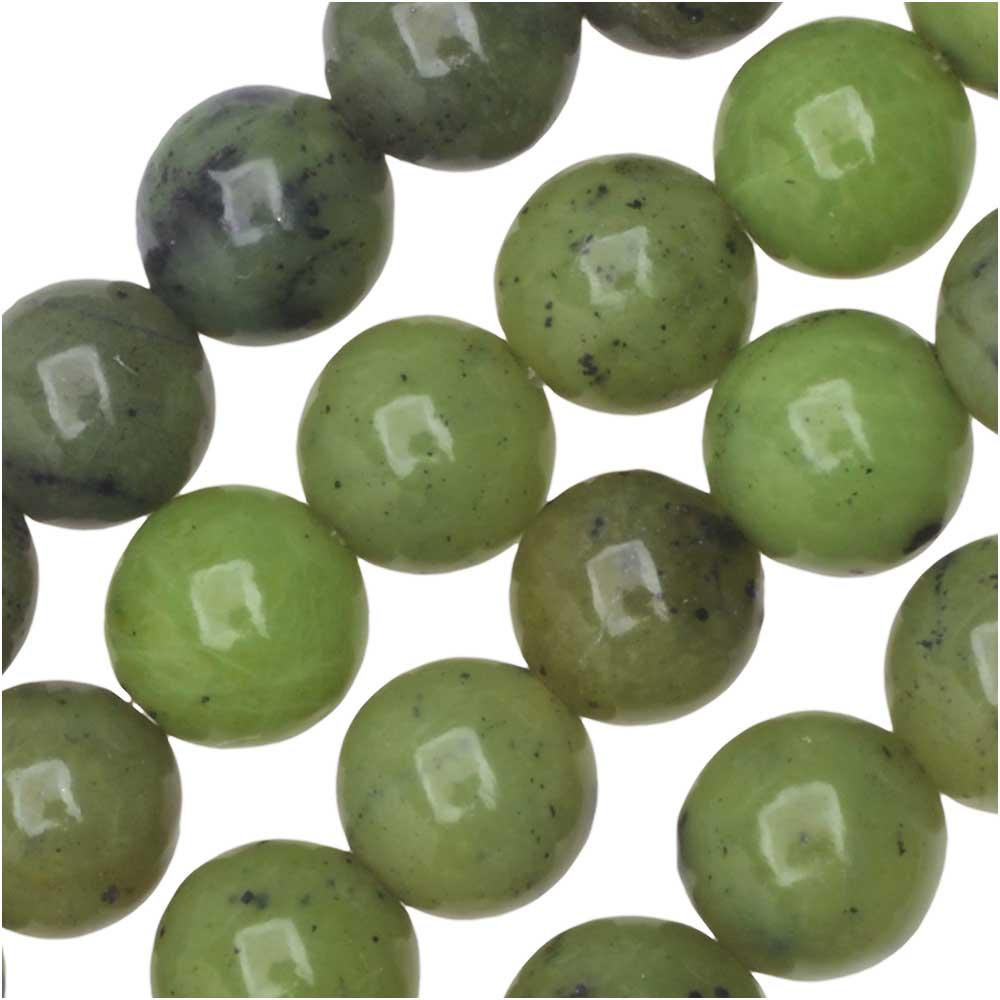 Dakota Stones Gemstone Beads, Green Jade, Round 6mm, 8 Inch Strand