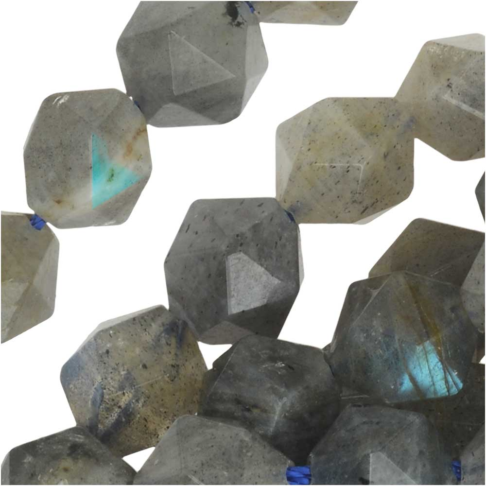 Dakota Stones Gemstone Beads, Labradorite, Star Cut Faceted Round 8mm, 14.75 Inch Strand