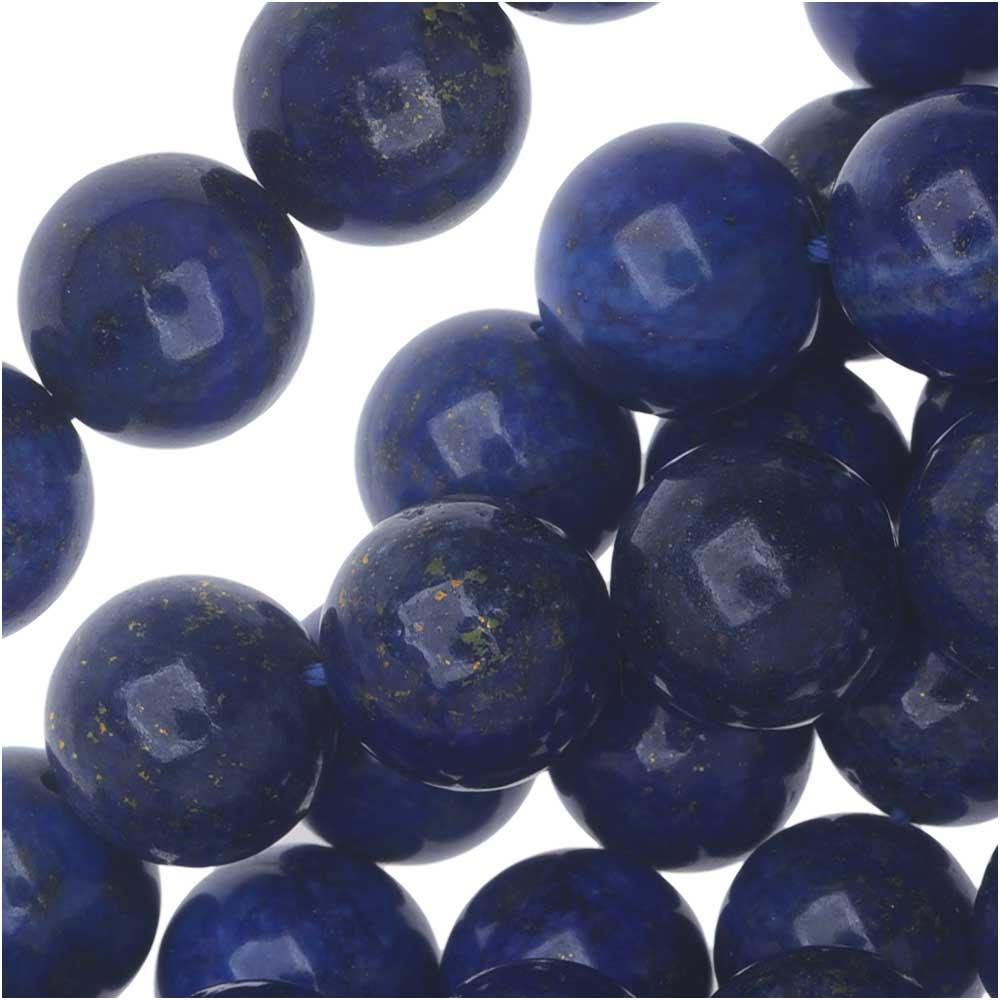 Lapis Lazuli Gemstone Beads, Round 10mm, 7.5 Inch Strand, Blue and Gold