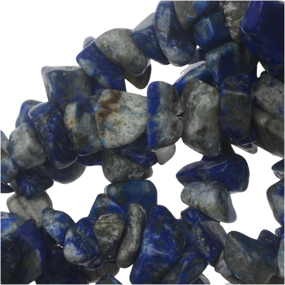Lapis Lazuli Gemstone Beads, Smooth Chip 6-12mm, 33-36 Inch Strand