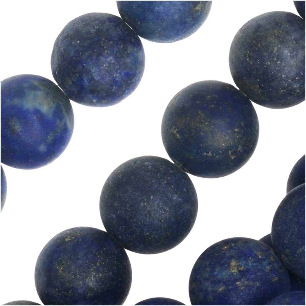 Dakota Stones Gemstone Beads, Lapis Lazuli, Matte Round 8mm, 8 Inch Strand