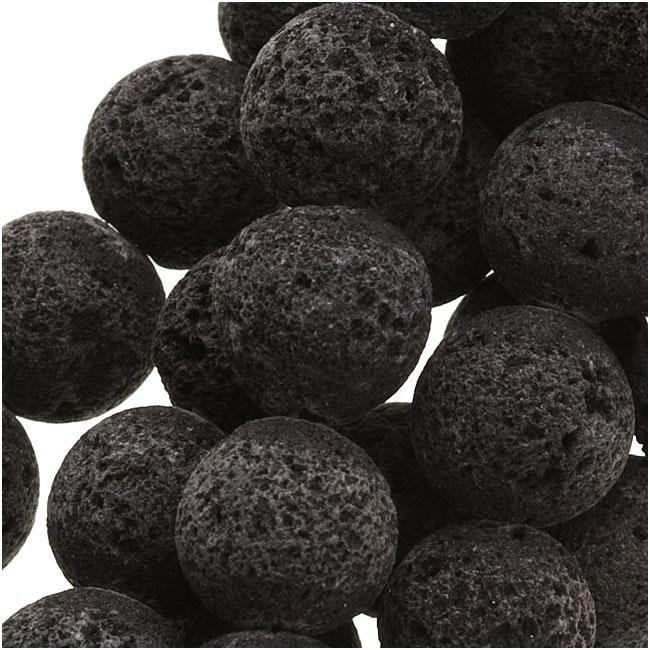 Natural Lava Gemstone Beads, Round 8mm, 15.5 Inch Strand, Black