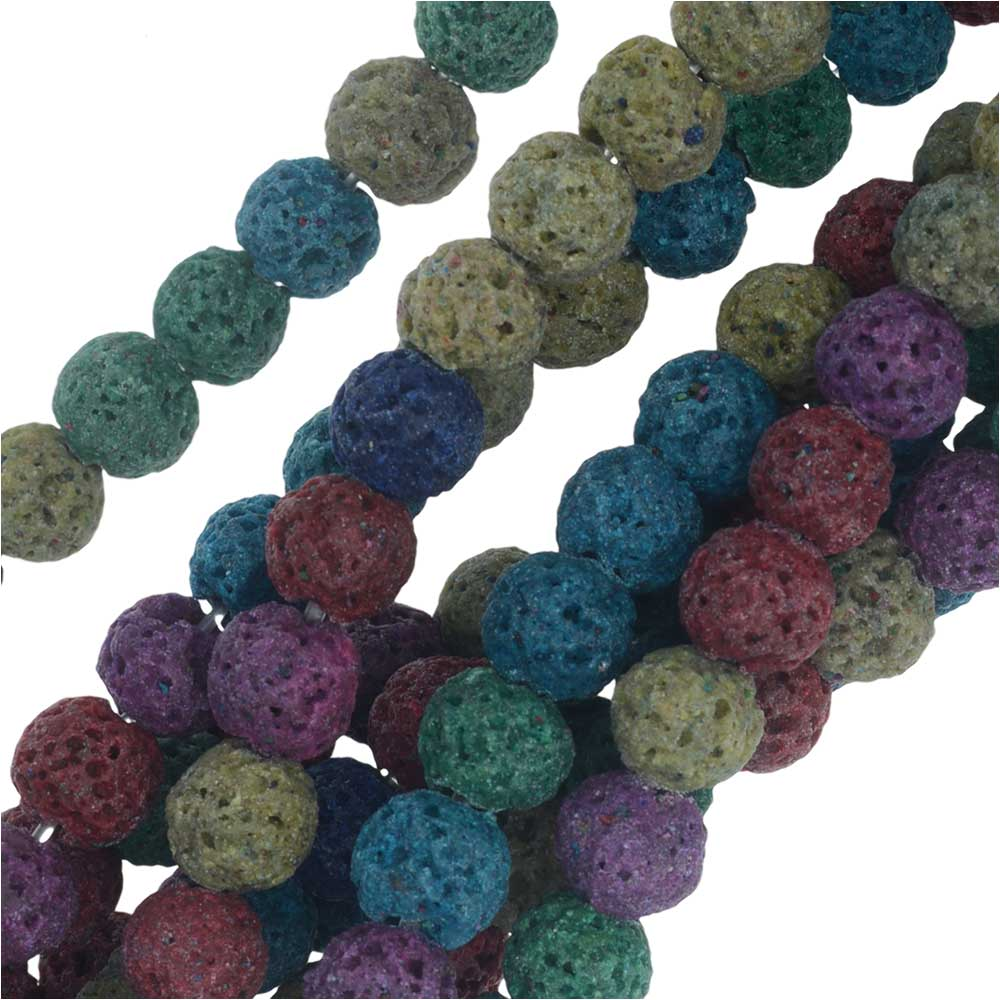 Dyed Natural Lava Gemstone Beads, Round 6mm, 1 Strand, Bright Mixed Colors