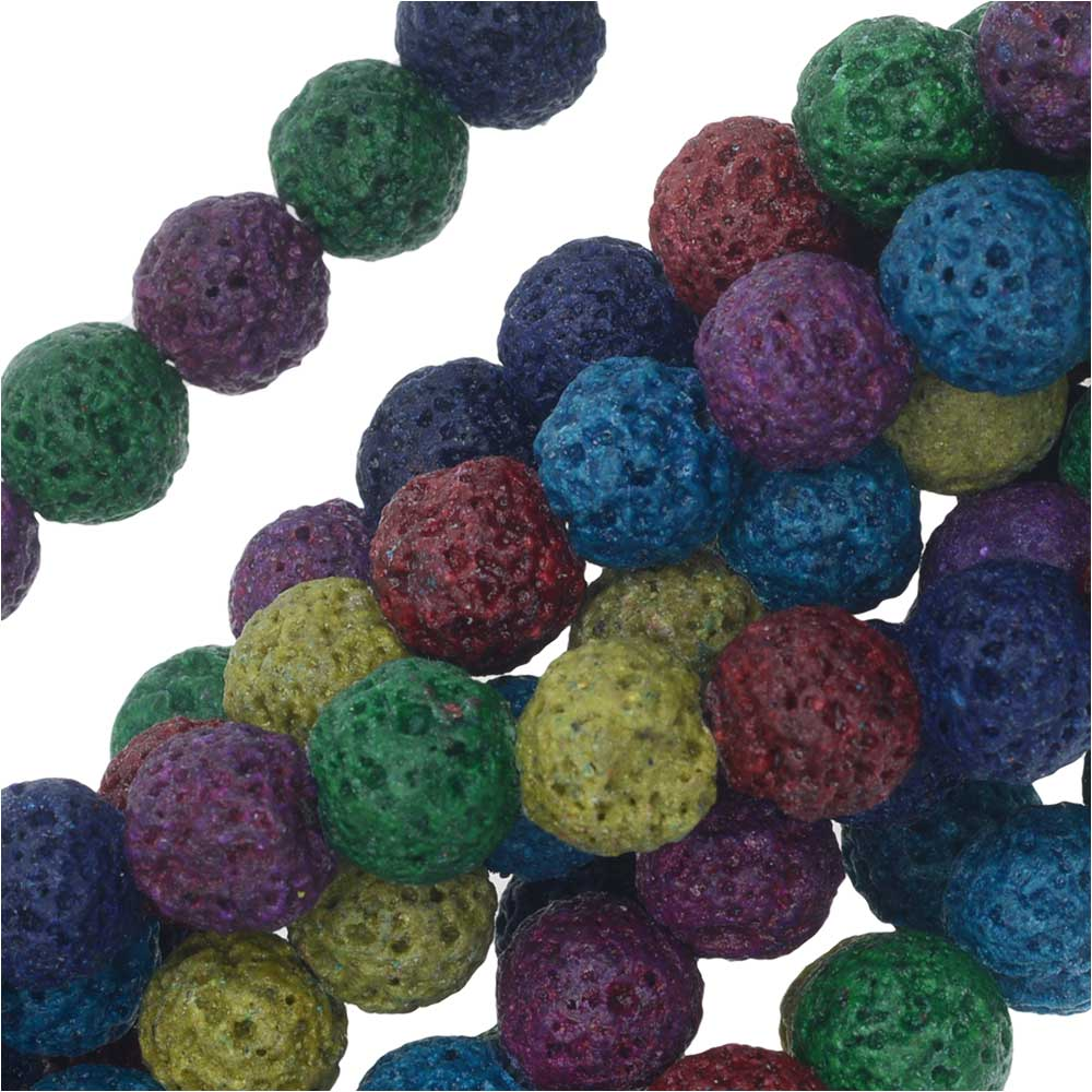 Dyed Natural Lava Gemstone Beads, Round 8mm, 1 Strand, Bright Mixed Colors