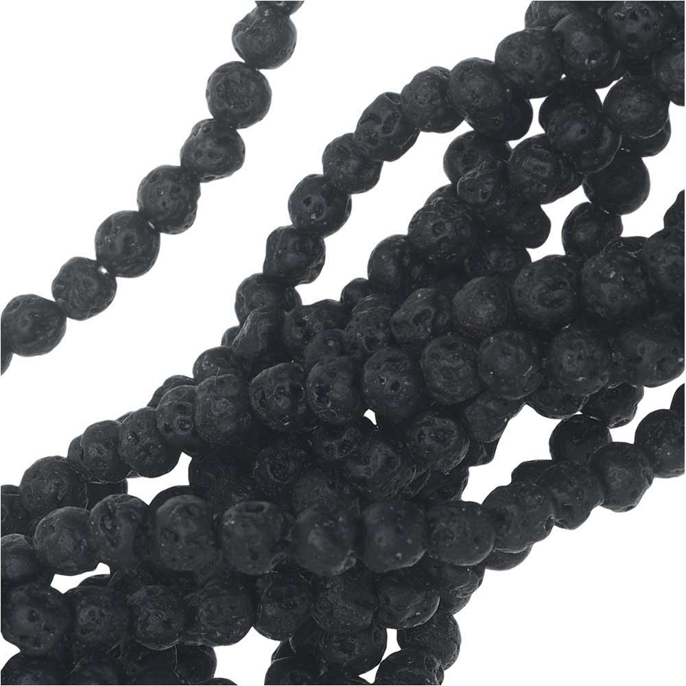 Natural Lava Gemstone Beads, Round 4mm, 1 Strand, Black