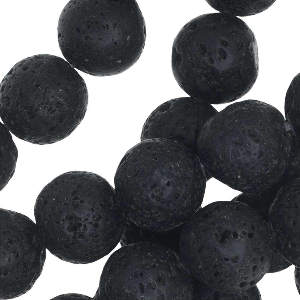 Natural Lava Gemstone Beads, Round 14mm, 1 Strand, Black