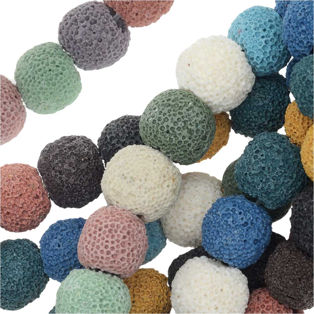 Dyed Natural Lava Gemstone Beads, Round 10mm, 1 Strand, Mixed Colors