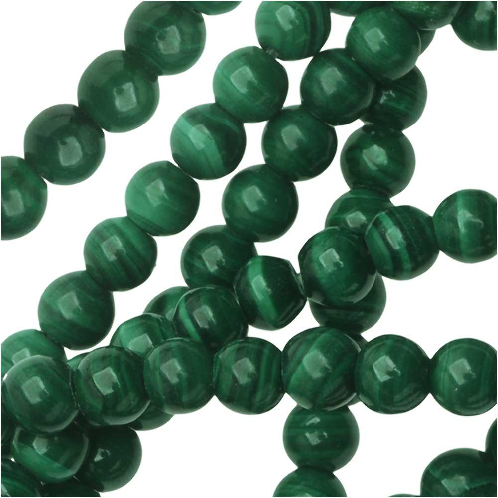 Dakota Stones Gemstone Beads, Green Malachite, Round 4mm, 8 Inch Strand