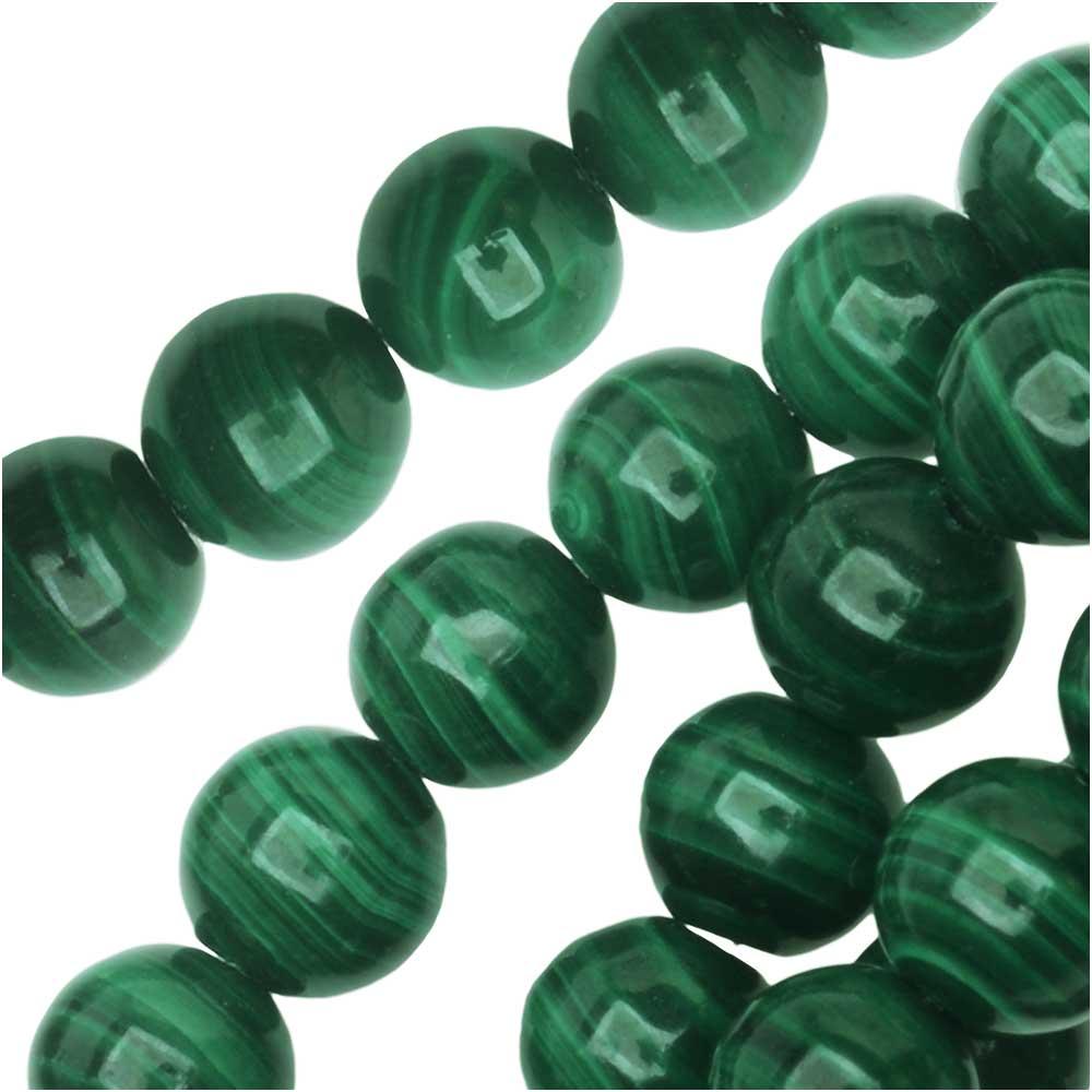 Dakota Stones Gemstone Beads, Green Malachite, Round 6mm, 8 Inch Strand