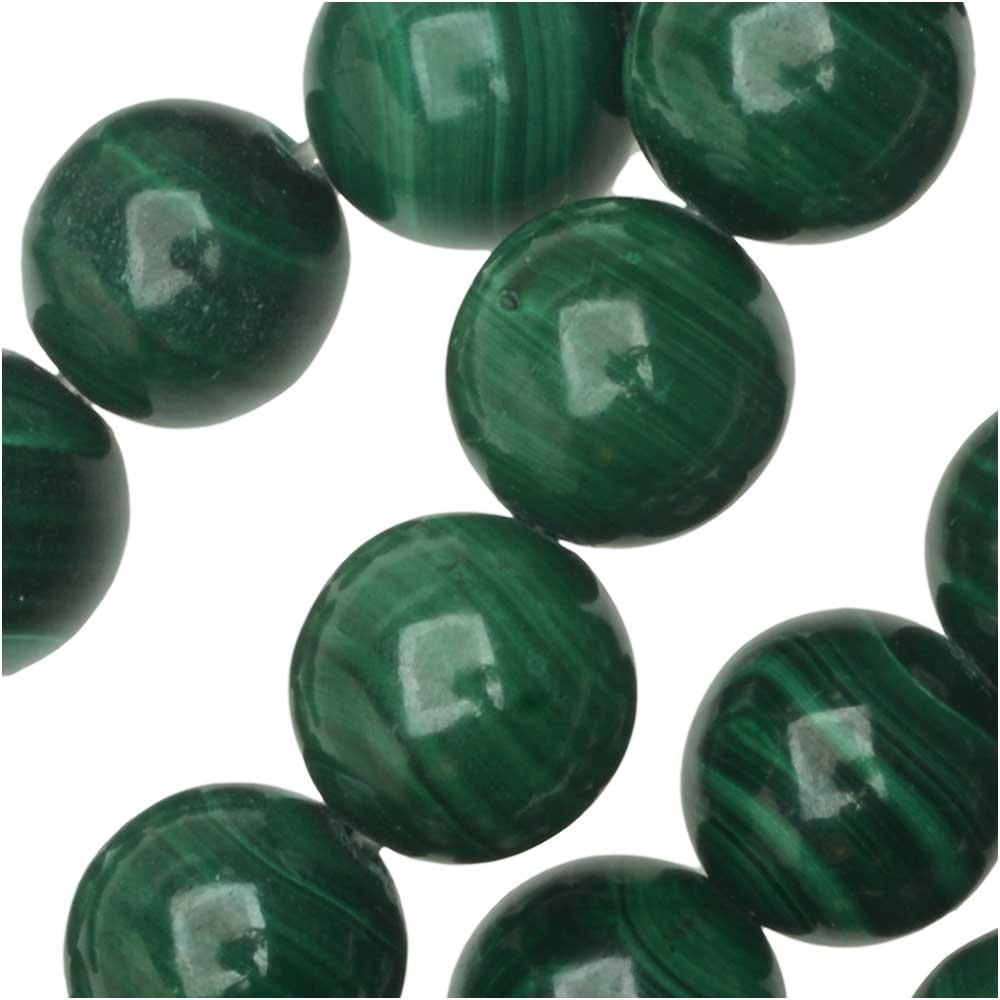Dakota Stones Gemstone Beads, Green Malachite, Round 8mm, 8 Inch Strand