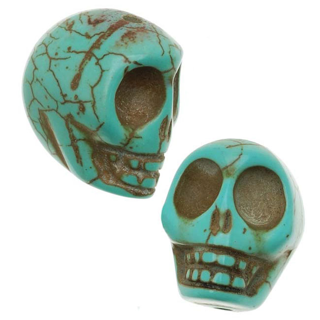 Final Sale - Turquoise Magnesite (Dyed)  Gemstone Beads Carved Skulls 14x18mm (10)