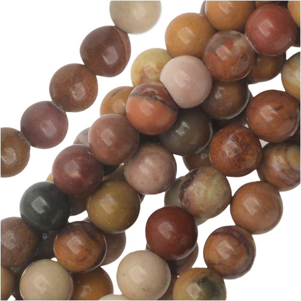 Dakota Stones Gemstone Beads, Sunset Mookaite, Round 4mm, 8 Inch Strand