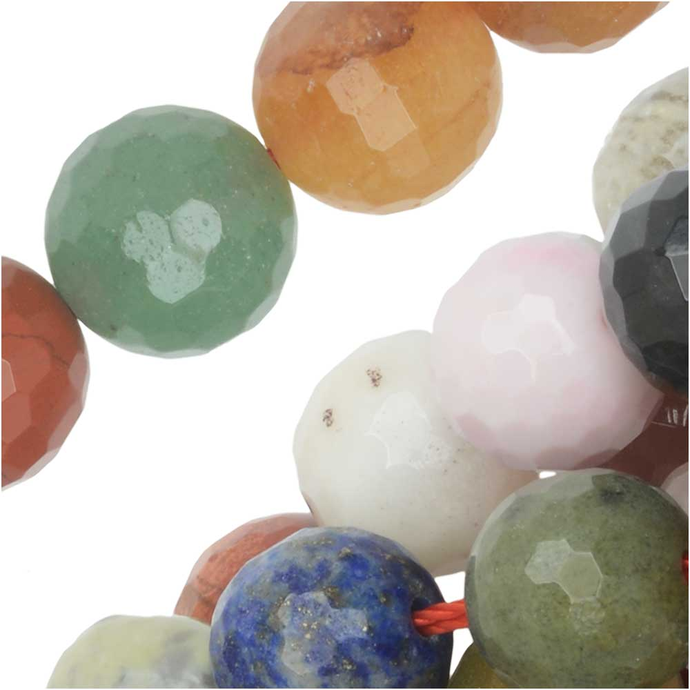 Dakota Stones Gemstone Beads, Mixed Stones, Faceted Round 10mm, 15 Inch Strand