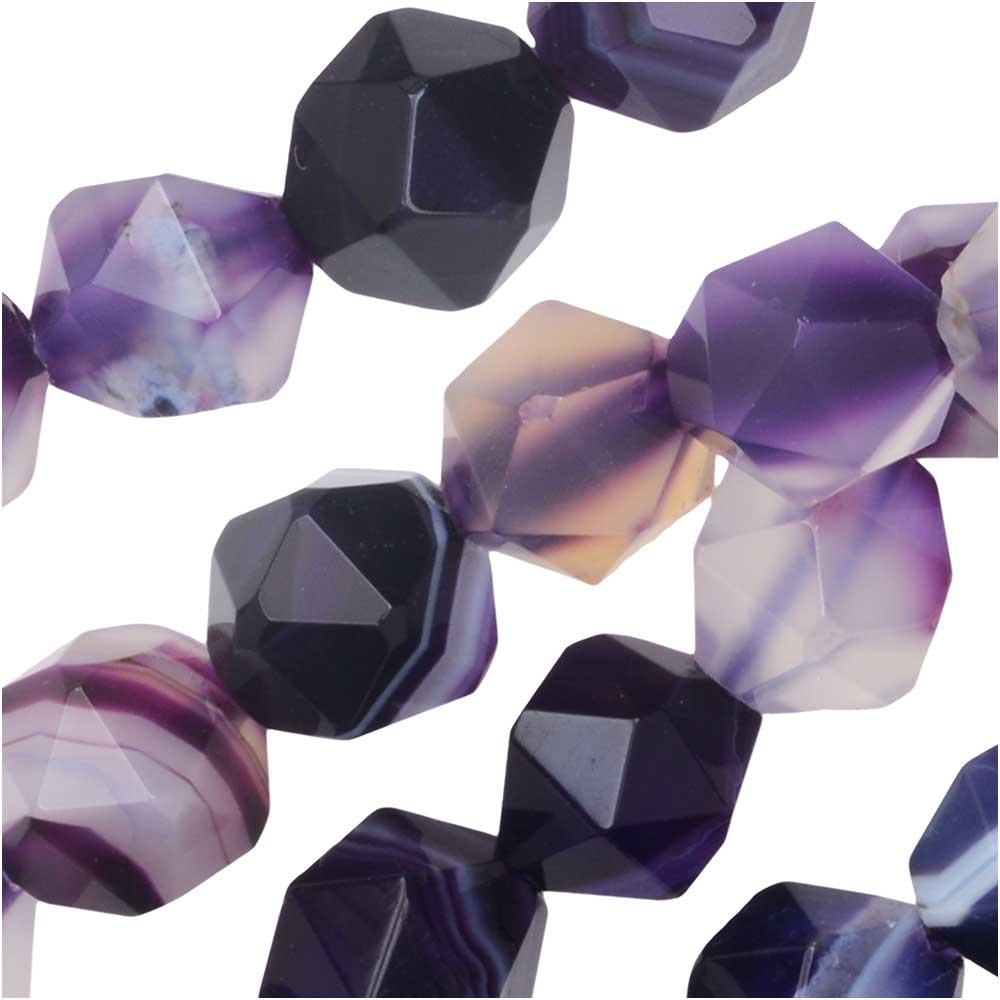 Dakota Stones Gemstone Beads, Dyed Purple Sardonyx, Star Cut Faceted Round 8mm, 15 Inch Strand