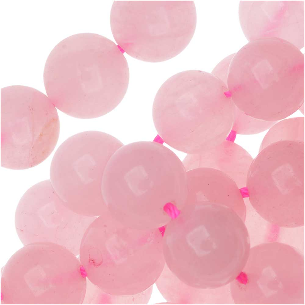 Rose Quartz Gemstone Beads, Round 10mm, 7.5 Inch Strand, Pink