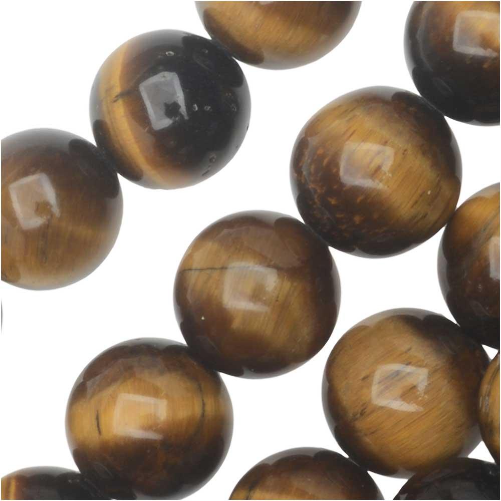 Dakota Stones Gemstone Beads, Tiger Eye, Round 8mm, 8 Inch Strand
