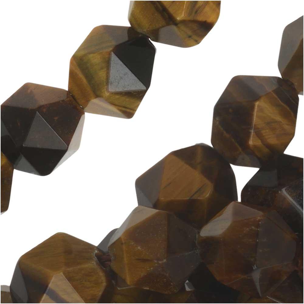 Dakota Stones Gemstone Beads, Tiger Eye, Star Cut Faceted Round 8mm, 15.5 Inch Strand