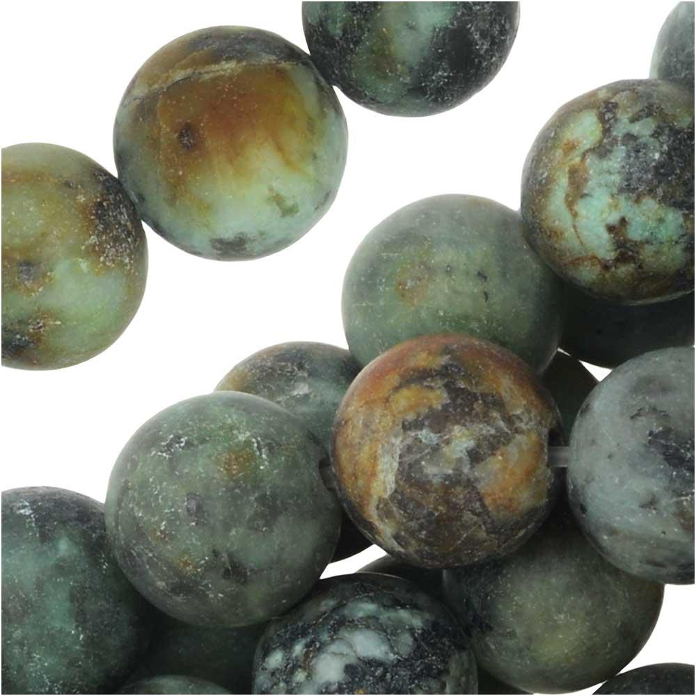 Dakota Stones Gemstone Beads, African Turquoise, Matte Round 8mm, 8 Inch Strand