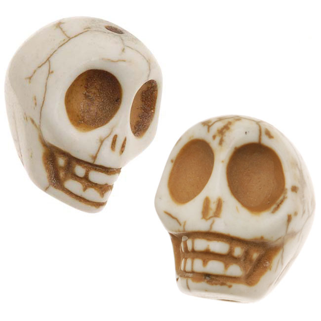 White Turquoise Gem Carved Skull Beads 14X18mm (10)