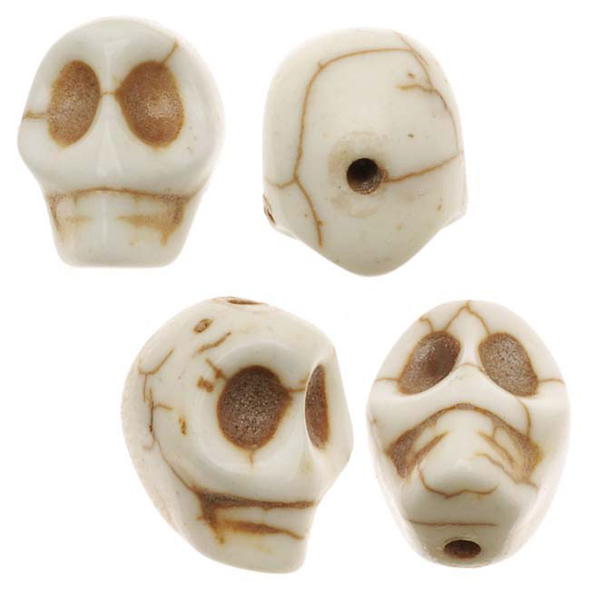 Final Sale - White Turquoise Gem Carved Skull Beads 10X12mm (20)