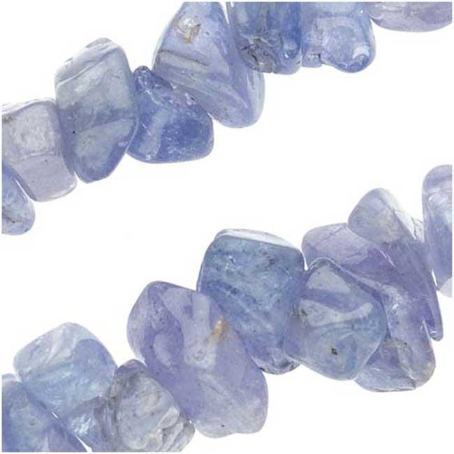 Gemstone Beads, Tanzanite, Chips 2.5-5mm, 36 Inch Strand, Blue