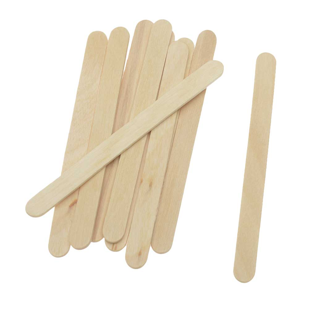 Natural Wood Craft Sticks, Flat with Rounded Edge 4.5 Inches, 10 Sticks