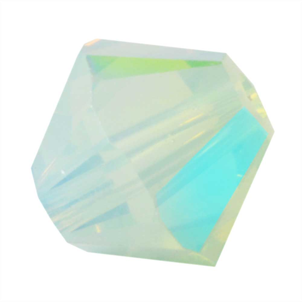 Swarovski Crystal, #5328 Bicone Beads 6mm, 20 Pieces, Chrysolite Opal Shimmer