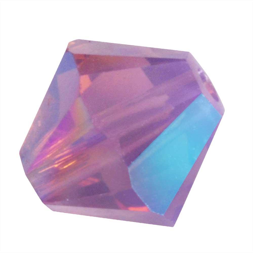 Swarovski Crystal, #5328 Bicone Beads 4mm, 24 Pieces, Cyclamen Opal Shimmer