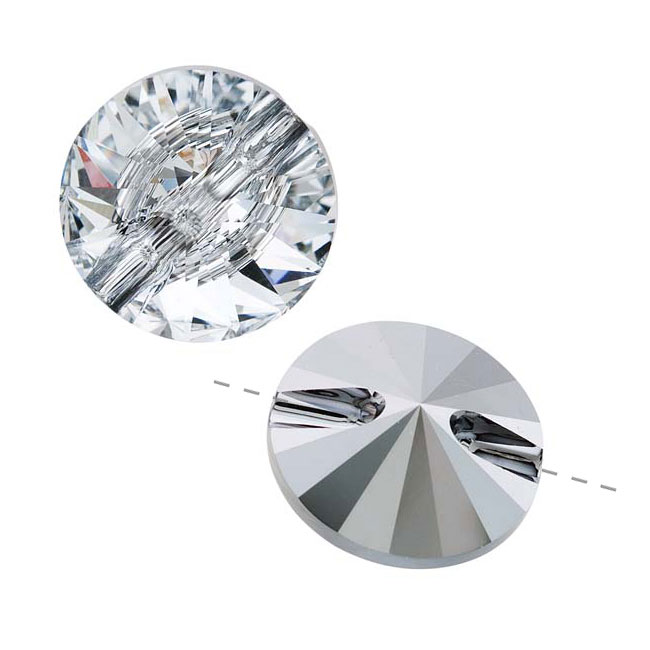 Swarovski Crystal, 3015 Rivoli Sew-On Stone Buttons 16mm, 1 Piece, Crystal Foiled