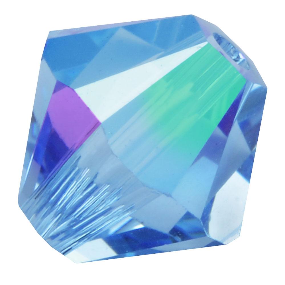 Swarovski Crystal, #5328 Bicone Beads 4mm, 24 Pieces, Aquamarine Shimmer