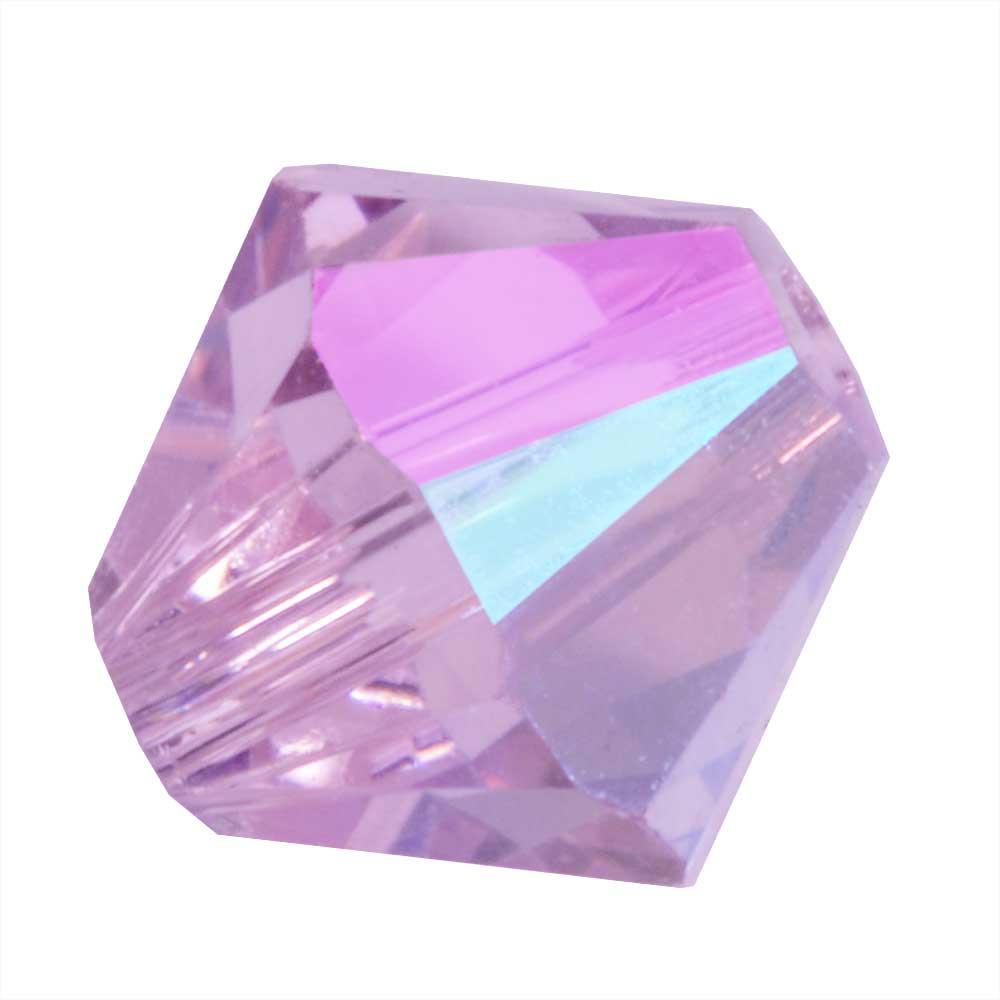 Swarovski Crystal, #5328 Bicone Beads 4mm, 24 Pieces, Light Amethyst Shimmer