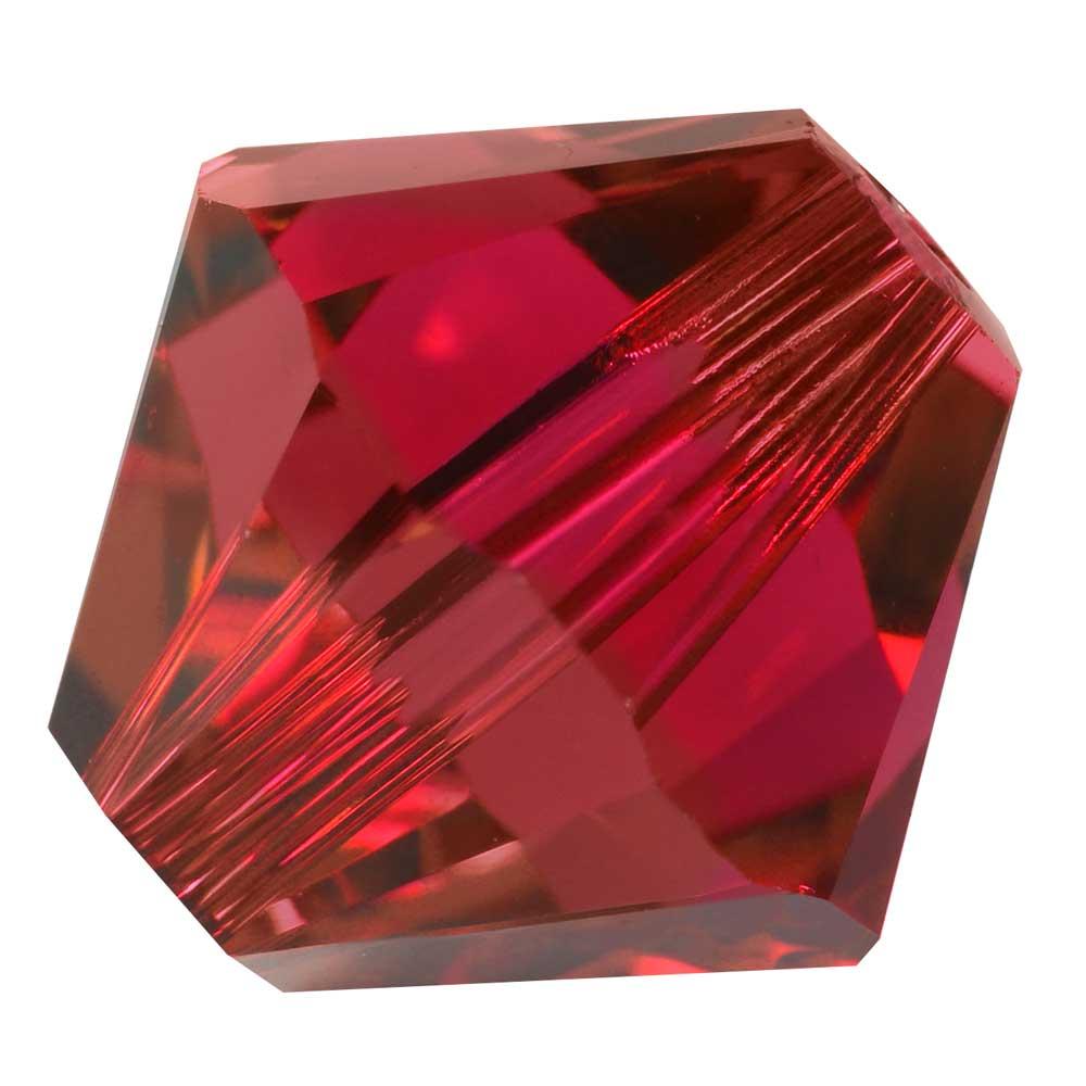 Swarovski Crystal, #5328 Bicone Beads 4mm, 24 Pieces, Scarlet