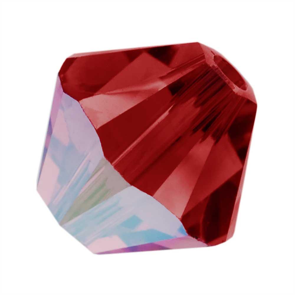 Swarovski Crystal, #5328 Bicone Beads 4mm, 24 Pieces, Scarlet AB