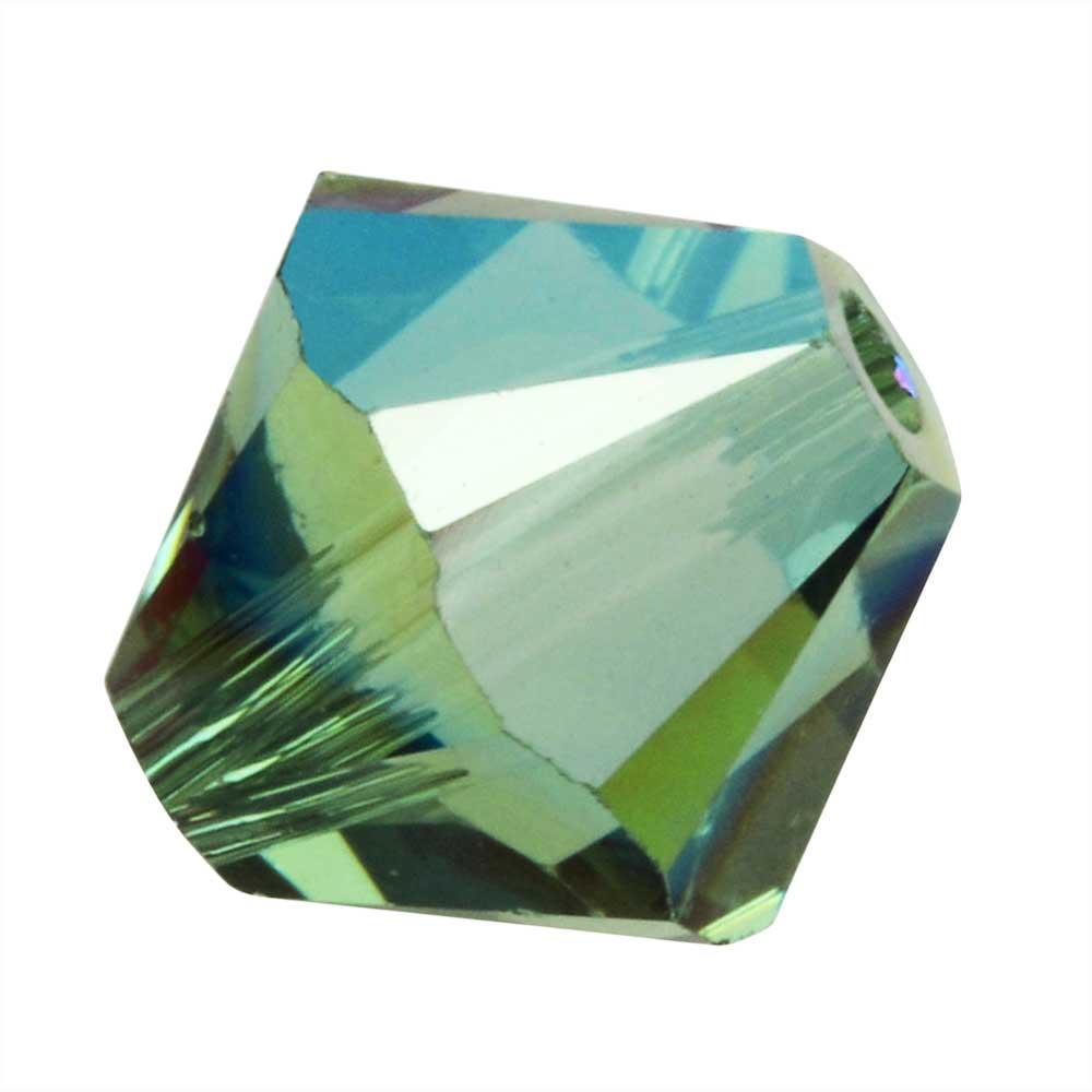 Swarovski Crystal, #5328 Bicone Beads 4mm, 24 Pieces, Erinite Shimmer