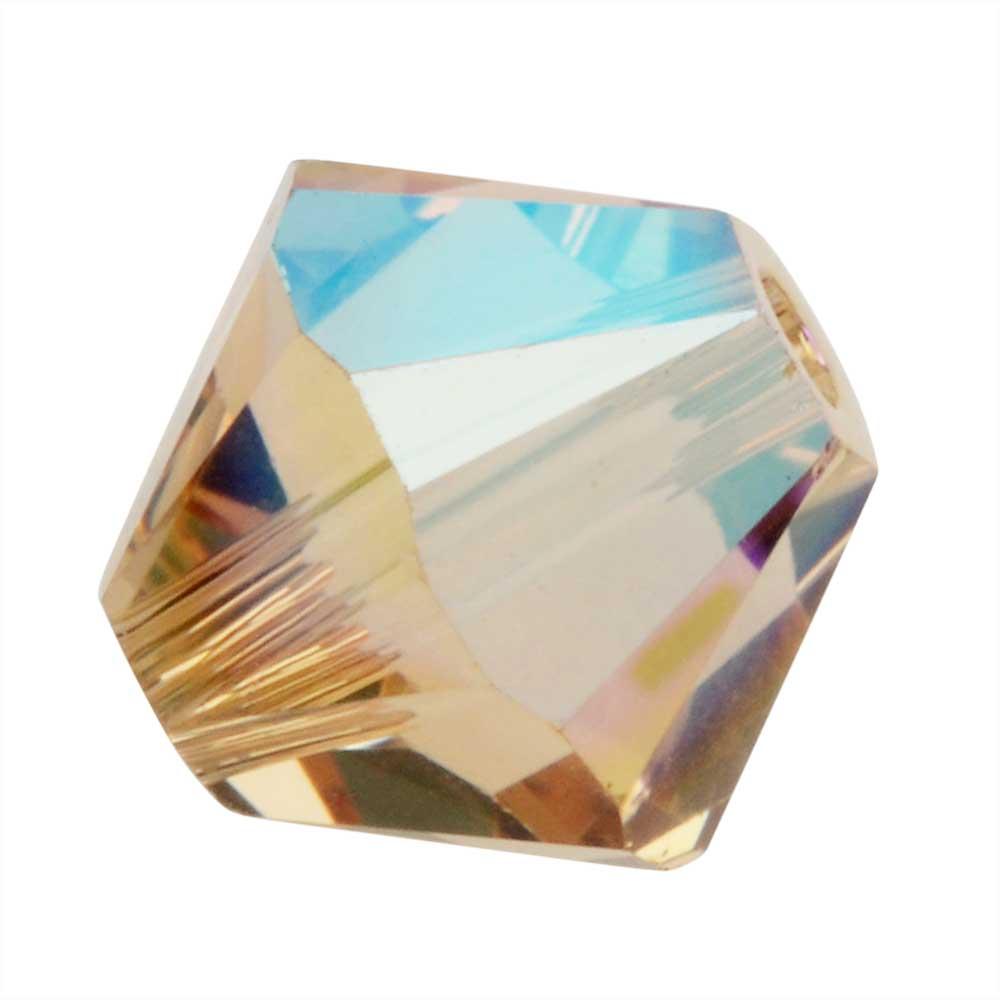Swarovski Crystal, #5328 Bicone Beads 4mm, 24 Pieces, Light Colorado Topaz Shimmer