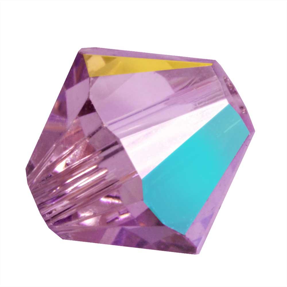 Swarovski Crystal, #5328 Bicone Beads 4mm, 24 Pieces, Iris AB
