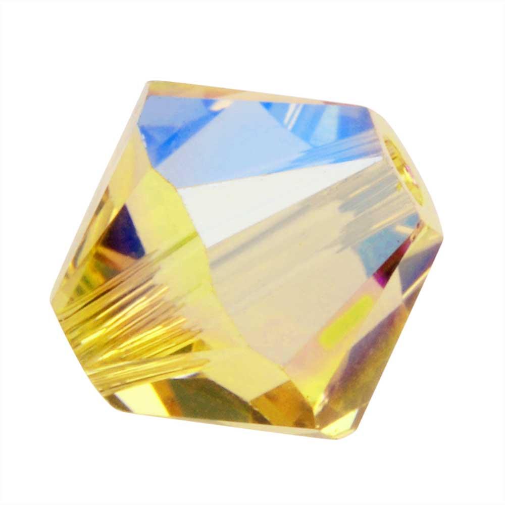 Swarovski Crystal, #5328 Bicone Beads 6mm, 20 Pieces, Light Topaz Shimmer