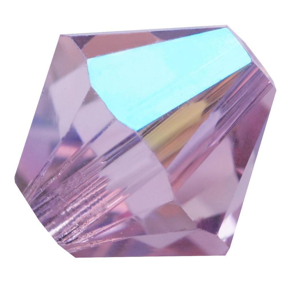 Swarovski Crystal, #5328 Bicone Beads 6mm, 20 Pieces, Light Amethyst Shimmer